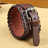 Fashion Punk  Adjustable Leather Wristband Cuff Bracelet - Great for Men, Women, Teens, Boys, Girls 2725s