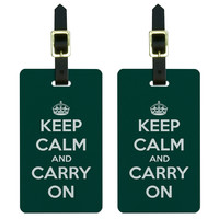Keep Calm and Carry On Teal Luggage Tag Set