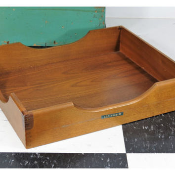 Vintage Wooden Desk Tray With Finger Joints . In Out Box . Office Decor . Wood File Mail Letter Tray . Los Angeles #1
