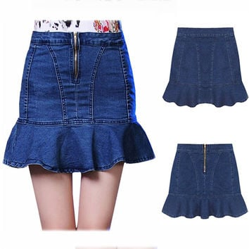 Ruffle Slim High Waist Denim Dress Plus Size Skirt [9022427460]