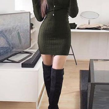 Army Green Lace-up Bodycon V-neck Long Sleeve Sweater Party Mini Dress