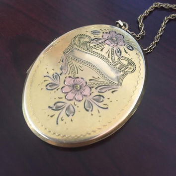 "Large Oval Locket with Pink Flowers Etched 12kt Gold Filled with Chain - 1930s Vintage Jewelry Gift For Her 24"" Necklace Sweetheart Gift"