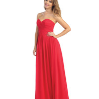 2014 Prom Dresses - Ruby Chiffon Cross Ruched Strapless Sweetheart Gown