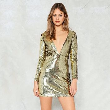 Fashion Sequined Solid Gold Women Mini Dress V-Neck Long Sleeve Female Hollow Out Back