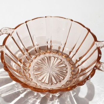 Anchor Hocking Old Cafe Pink Depression Glass Bowl with Handles
