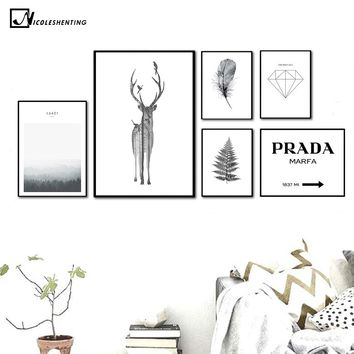 NICOLESHENTING Nordic Style Deer Feather Poster Print Minimalist Wall Art Canvas Painting Landscape PRADA Picture Home Decor