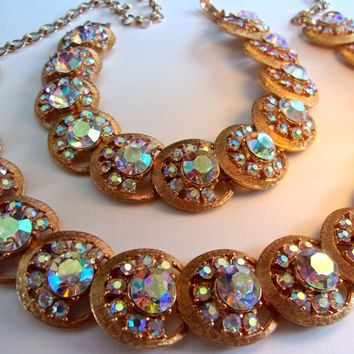 CHAREL Rainbow Aurora Borealis Necklace-Bracelet Set, Overlapping Disks, Gold Tone, Vintage