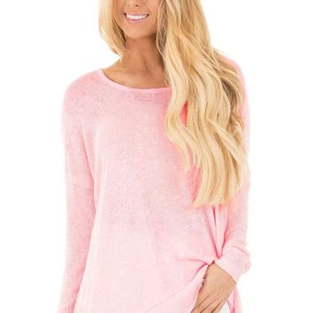Chicloth Pink Backless Twist Knit Long Sleeve Dolman Top