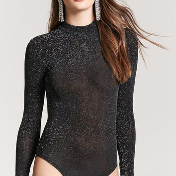 Metallic Mock Neck Bodysuit