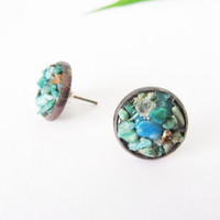 Raw Rough Gemstone Earrings //Rustic Chrysocolla Cluster Earrings