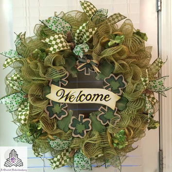 St. Patrick's Day Welcome Faux Green Burlap/Jute Ruffle Deco Mesh Wreath