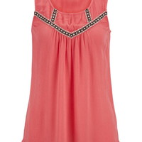 Gauze Embroidered Tunic Tank With Keyhole - Calypso Coral