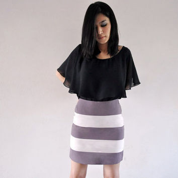 Stripe Mini Skirt Office Fashion Spring Short Bottom Purple Light Pink Dandy 0 XS