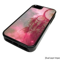 Apple iPhone 5 or 5S Nebula Dream Catcher Quote Summer Dual Layer Impact Protector Rugged Tough Case Cover Skin Hipster Cute DESIGN BLACK RUBBER SILICONE Teen Gift Vintage Hipster Fashion Design Art Print Cell Phone Accessories