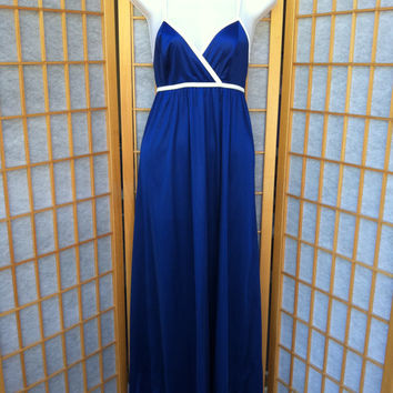 Vintage Cobalt Blue Maxi Antron III Nylon Nightgown NEW JC Penney M 34
