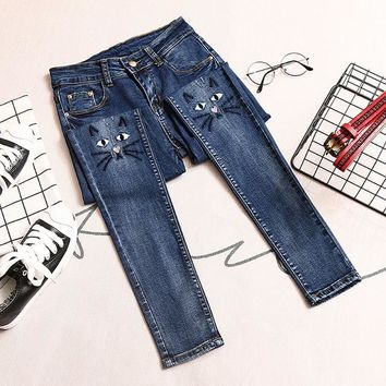Cat Themed High Waist Jeans for Women Slim Elastic Skinny Stretch Pencil Jeans