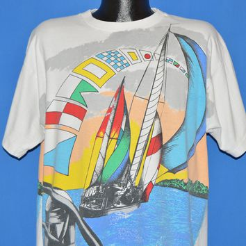 90s Sail Boat Signal Flags All Over Print t-shirt Extra Large