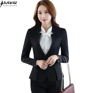 Autumn winter formal women pants suit set career slim long sleeve blazer and pants office uniform ladies plus size work wear