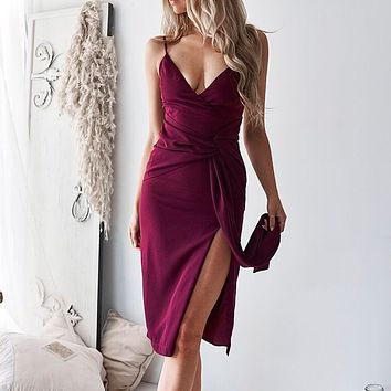 Women's Lace  Straight  Empire Dress With Bow Deep V-neck Party Strapless Pencil Short Midi Dress