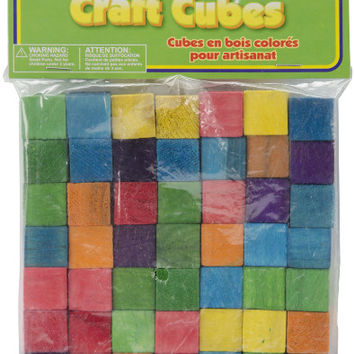 colored wood craft cubes - 0.6""