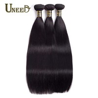 Uneed Hair Malaysian Straight Hair Weave 100% Human Hair Bundles Remy Hair Extensions Natural Black Color Can Buy 3 or 4 Bundles