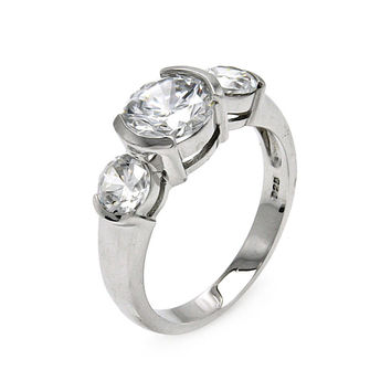 925 Sterling Silver Ladies Jewelry Round Cubic Zirconia Stones Past Present Future Ring Width: 7.9mm: Size: 5