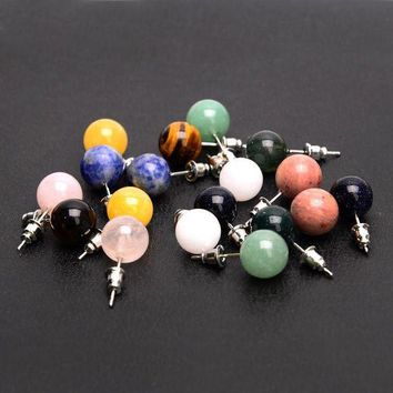 New Arrival Candy Color Round Beads Natural Stone Stud Earrings For Women Brincos Accessories Gifts Fine Jewelry