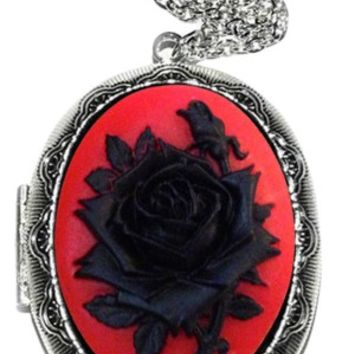 Women's Cameo Locket Necklace - Silver Plated 18