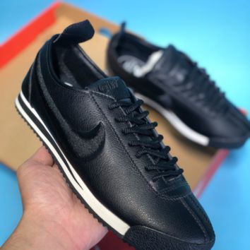 AUGUAU N345 Nike Wmns Cortez 72 Lychee skin - embroidered retro leisure running shoes Black