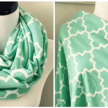 Mint and White Quatrefoil Nursing Scarf, Nursing Cover, Baby Gift