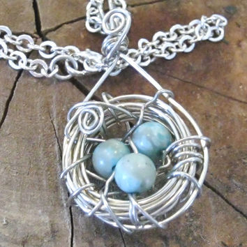 Best wire bird nest jewelry products on wanelo silver birds nest necklace wire wrapped blue eggs nest pendant mothers jewelry handmade aloadofball Choice Image