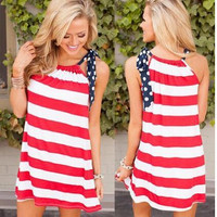 Sleelvess Red And White Stripe Dress