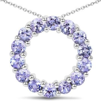 1.4TCW Blue Purple Tanzanite Circle Pendant Necklace