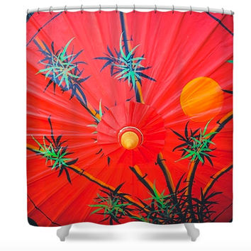 Chiang Mai Thailand Red Parasols Asian Inspired Polyester Fabric Shower Curtain