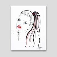 Original fashion illustration. 11x14 original drawing with red and blue accents.