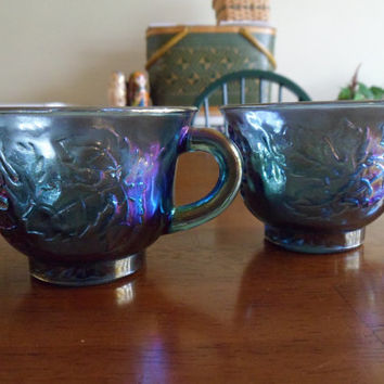 Vintage Iridescent Carnival Glass Cups Set by SweetDreamsandRoses