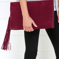 Complimentary Commentary Wine Red Clutch
