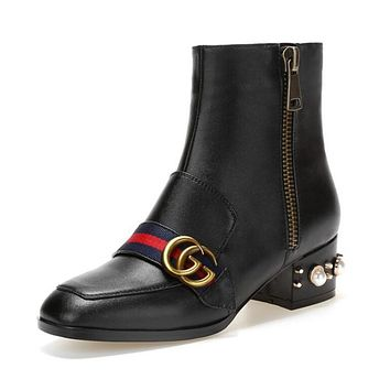 GUCCI Popular Women Personality Leather Metal GG Letter Buckle Pearl Square Heel Ankle Boots High-End High Heels Shoes Black I12279-1