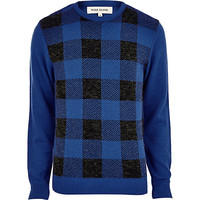 River Island MensBlue check front sweater