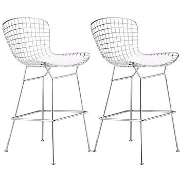 "Set of 2 Zuo 27 1/ 2"" Wire Chrome Bar Chairs - #T7596 