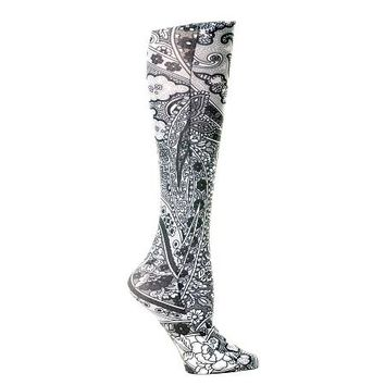 Lightweight Patterned Compression Socks in Black Paisley