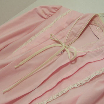 Pink Velour  Long Robe Zip Front Trimmed in Ivory Soft and Cozy For Winter