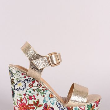 Cracked Metallic Open Toe Floral Platform Wedge