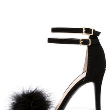 Mystery of Sorts Black Feather Ankle Strap Heels