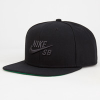 Nike Sb Icon Pro Mens Snapback Hat Black One Size For Men 26442410001