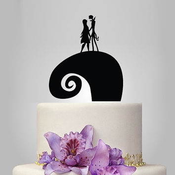 The Nightmare Before Christmas Jack & Sally silhouette wedding Cake topper, funny wedding cake topper, acrylic cake topper