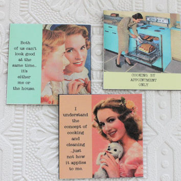 Funny Magnets for Housework Hater Three Sassy Sayings