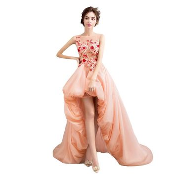 New Sweet Romantic Prom Dress Banquet Coral Lace Embroidery Short Front Long Back Sweep Train Formal Party Gowns