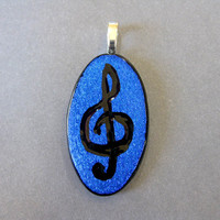 Musical Clef Pendant, Etched Treble Clef in Blue Dichroic - Treble - music note jewelry
