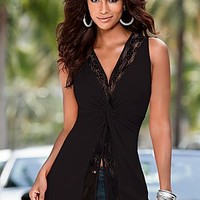 Lace Detailed Knot Top
